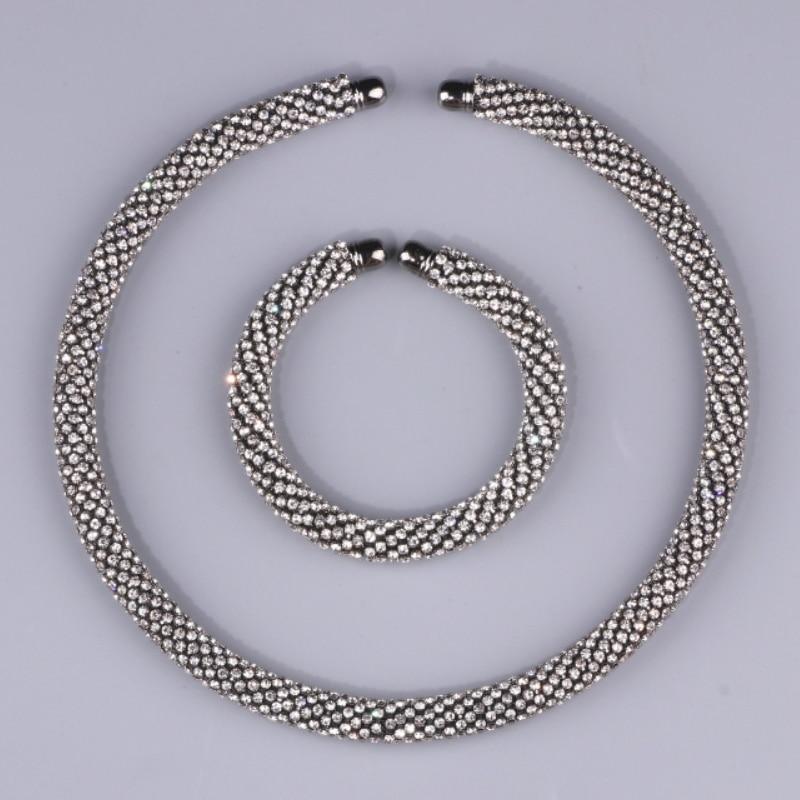 Novi Disign Luksuzni Maxi Crystal Ogrlica Ogrlica Zlato / Srebro - Modni nakit - Foto 5