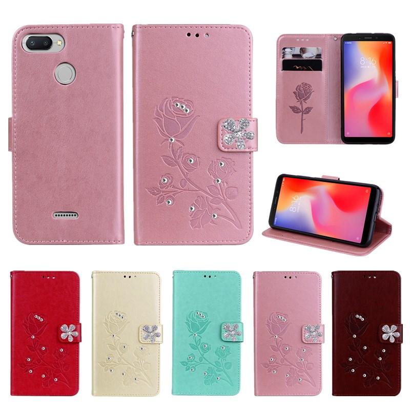 Redmi 6 Case Pocophone F1 MI A2 lite Rose Flip Wallet Leather Phone Case For Xiaomi S2 6A Redmi note 6 pro 5A 5 PLUS Bling Cover