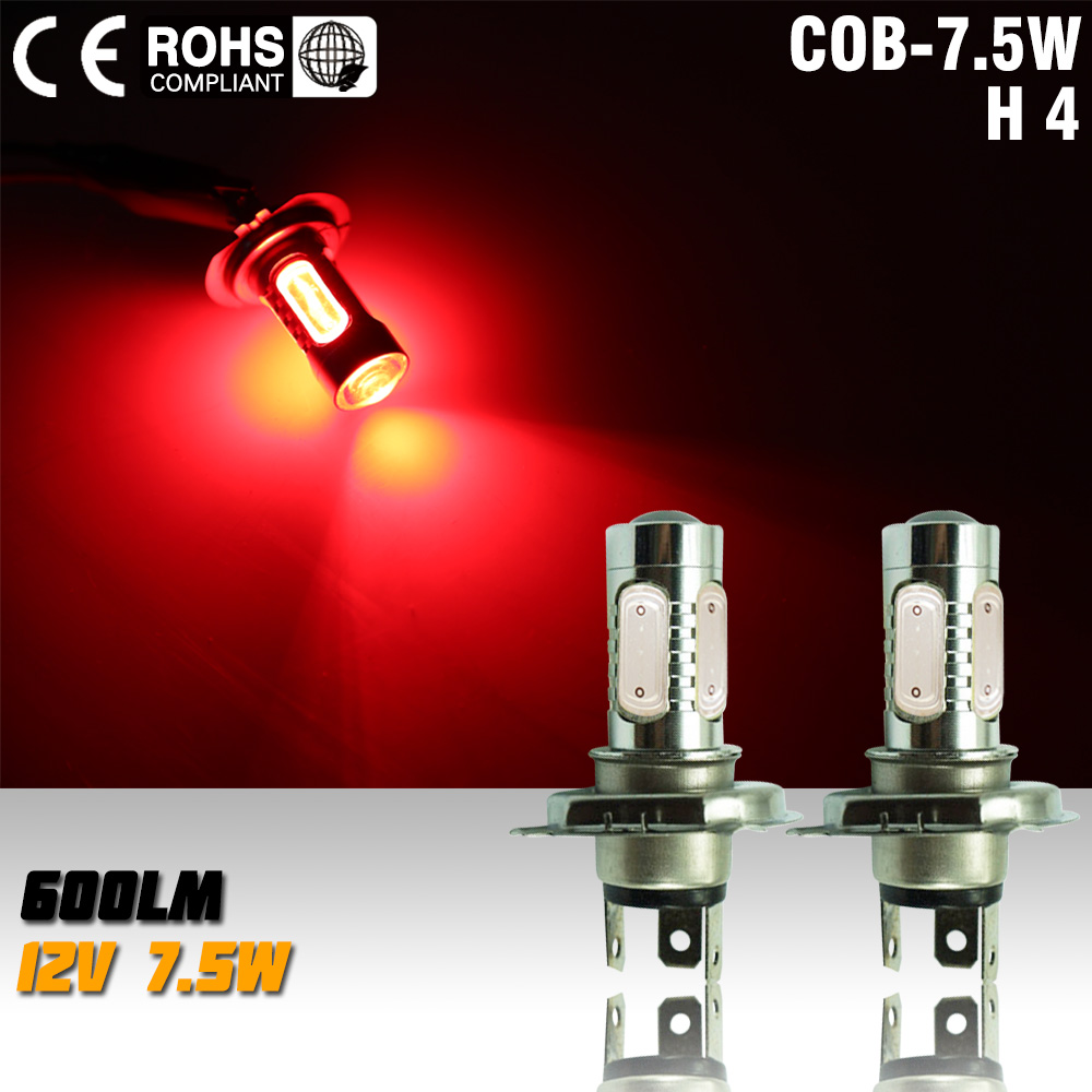 2pcs led h4 7.5w high power led bulb LED Turn Brake Stop Lamp led bulb fog light red Signal Tail Fog Bulb Light