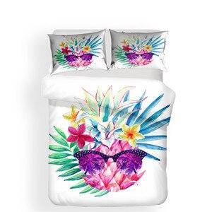 Image 2 - 寝具セット 3D プリント布団カバーベッドセットパイナップルホームテキスタイル大人のためのリアルな寝具枕 # BL01