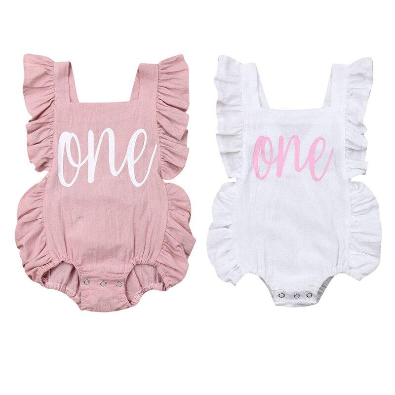 NWT Flamingo Baby Girls Sleeveless Ruffle Romper Sunsuit Jumpsuit