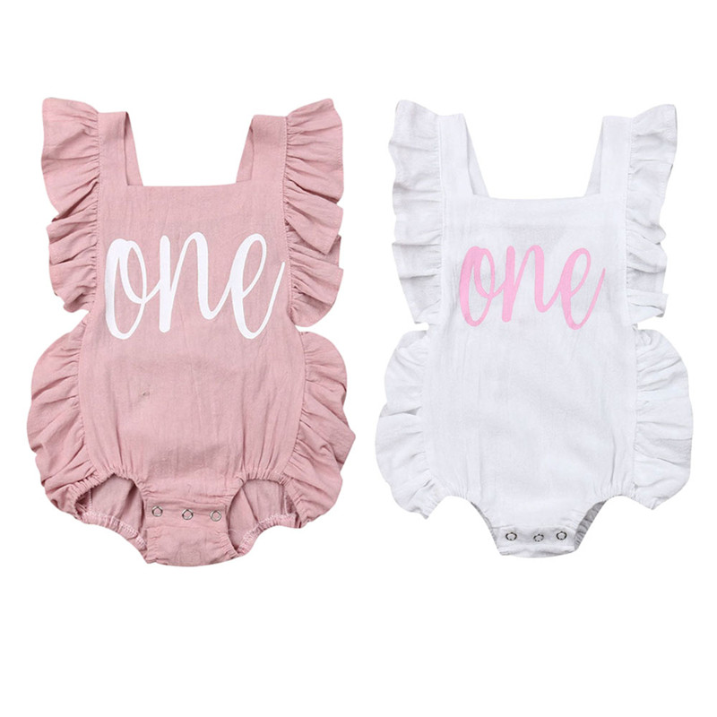 Infant Baby Girl Bodysuit Clothes Outfit Sleeveless Soft Solid Pink White  Sunsuit Jumpsuit For 0-24M