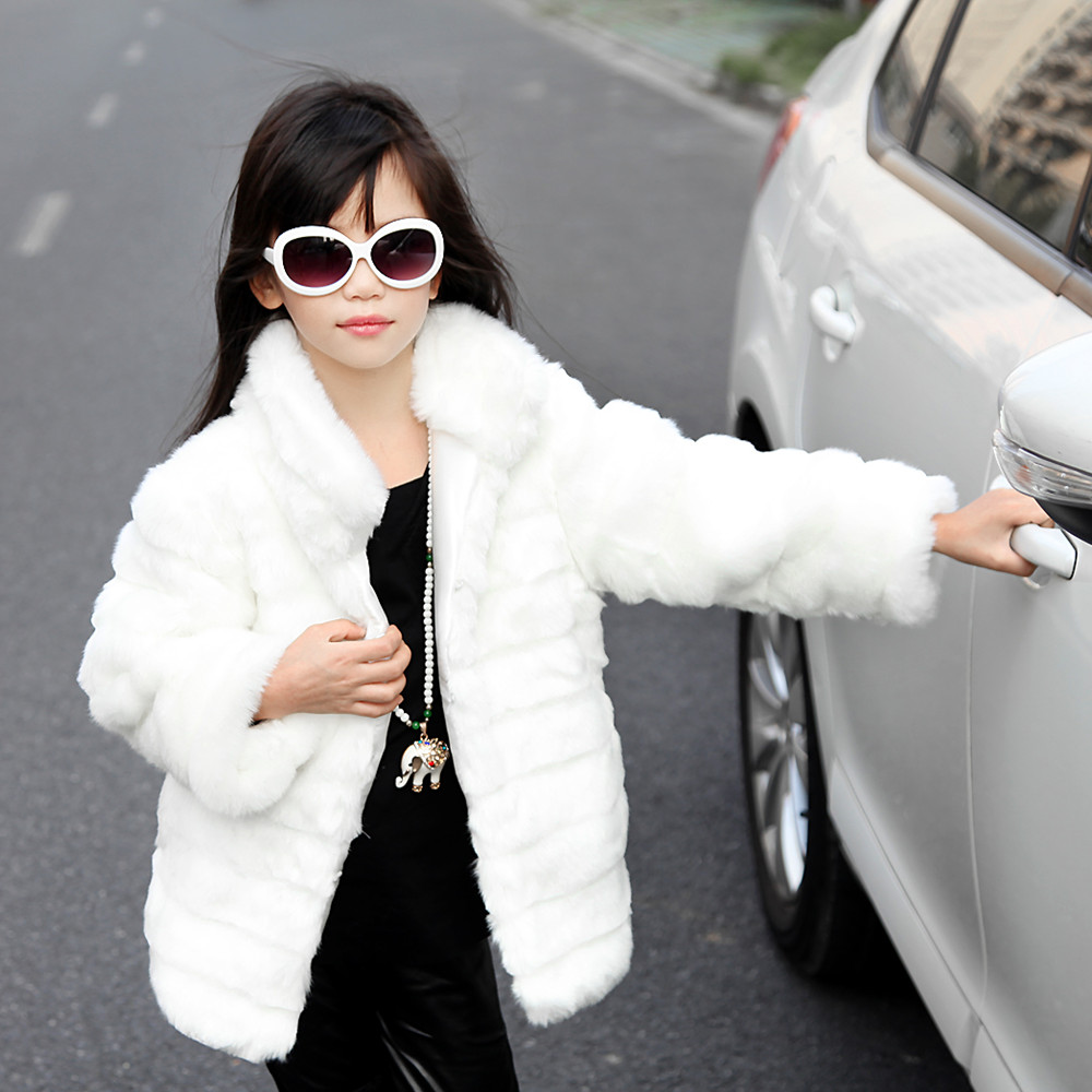 Fall Autumn Faux Fur Coat For Girls ,children Warm Winter Jackets And Coats ,black White Warm Clothes