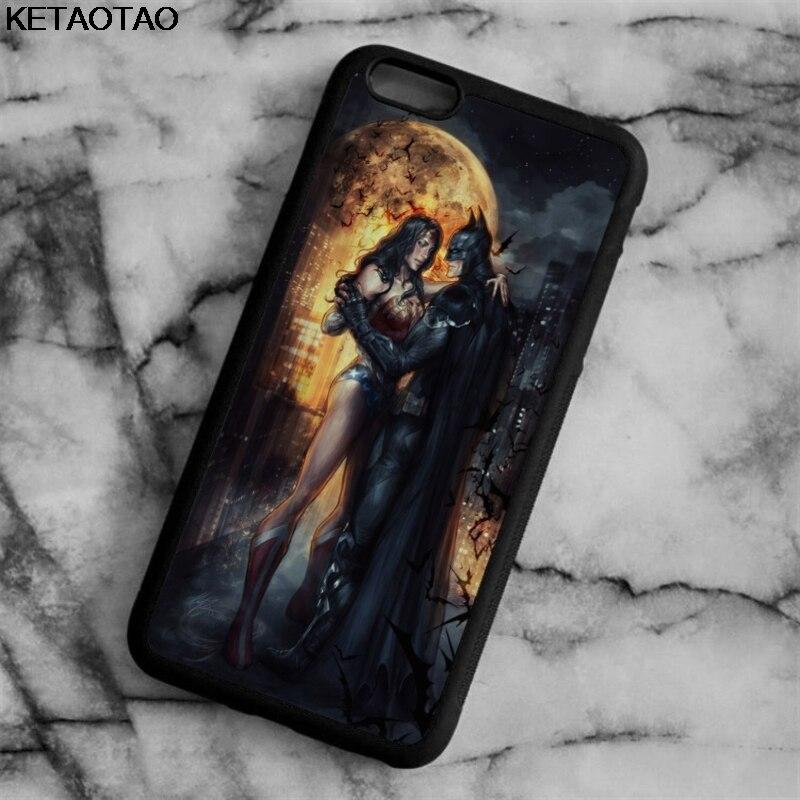 KETAOTAO Wonder Woman и Бэтмен Фильм Телефон Случаях для iPhone 5C 4S 5S 6 6 S 7 Плюс 8 Х для Samsung Случае Мягкие TPU Резиновая Силиконовая