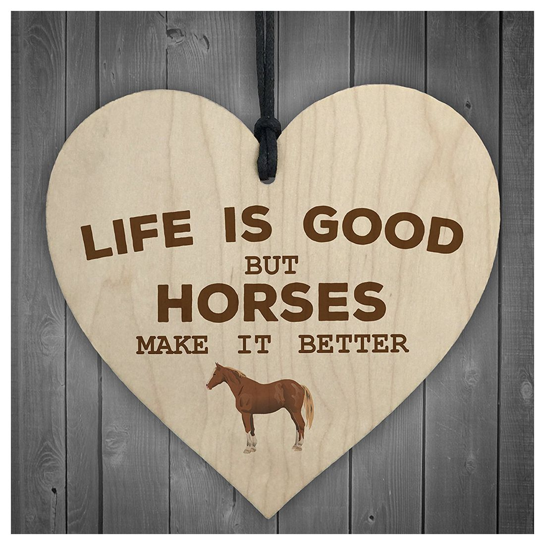 Horses Make Life Better Wooden Hanging Heart Plaque Horse Lovers Stable Sign New