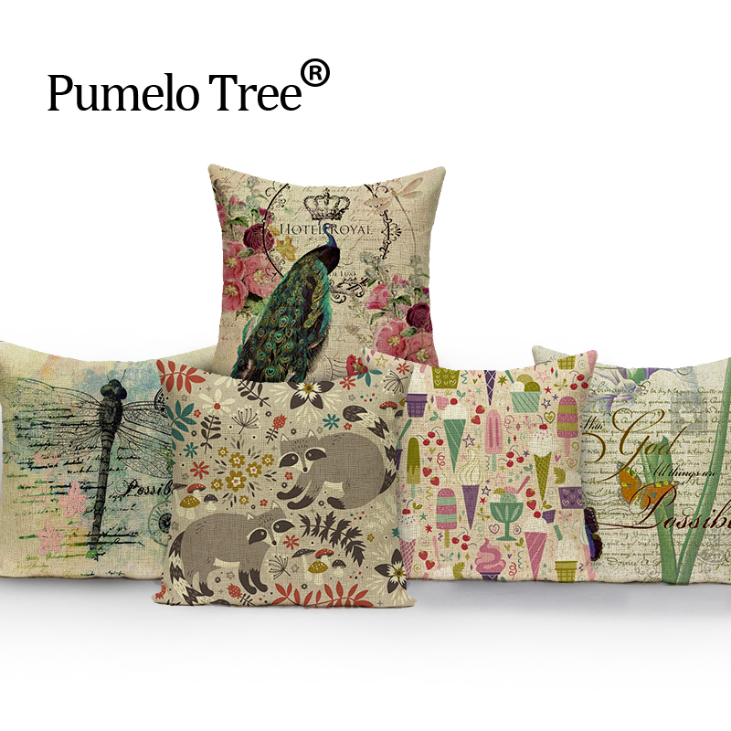 Botanical prints vintage pillow flower outdoor cushions High Quality throw pillows   cushions decorative Custom cover cushion