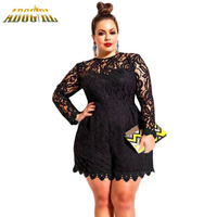 2016 New Large Size Womens Clothing Playsuits Black Plus Size 5XL Long Sleeve Lace Romper Jumpsuits