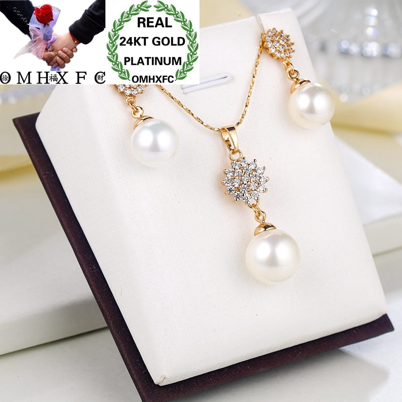 OMHXFC Wholesale European Fashion Woman Girl Party Wedding Gift Pearl Zircon 24KT Gold Necklace+Stud Earrings Jewelry Set ET20OMHXFC Wholesale European Fashion Woman Girl Party Wedding Gift Pearl Zircon 24KT Gold Necklace+Stud Earrings Jewelry Set ET20
