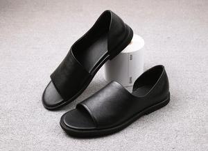 Мужские летние сандалии на плоской подошве с открытым носком, в рыбацком стиле, из натуральной кожи, с закрытым мысом, без шнуровки, для повс...