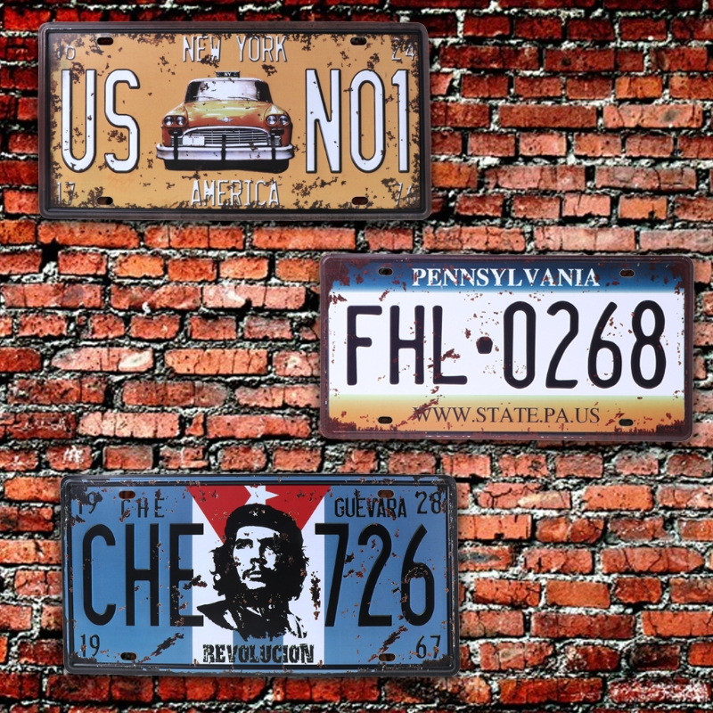 30x16cm Vintage Metal Tin Signs Route 66 Car Number License Plate Plaque Poster Bar Club Wall Garage Home Decoration