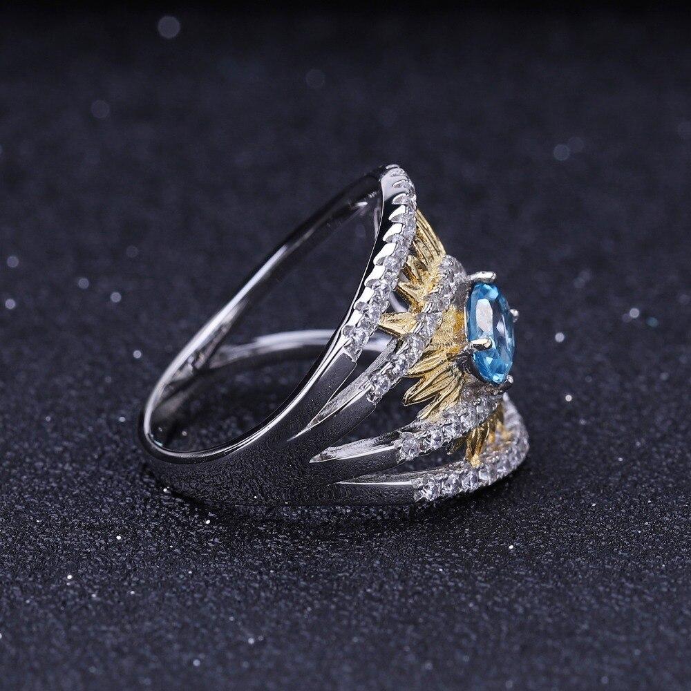 Image 3 - Женское кольцо gembs BALLET, кольцо с подсолнечником из серебра  925 пробы с натуральным швейцарским синим топазом 1,00ctКольца   -