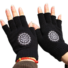 2017 Fashion Gloves Anime One Piece Naruto Attack On Titan Black Butler Half Finger Plush Knit Glove Winter Warm Mitten Cosplay