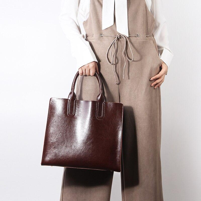 Image 2 - Burminsa Ladies Genuine Leather Bags Vintage Female Shoulder Messenger Bags Large Capacity Women Handbag 2019 Black Coffee Brown-in Shoulder Bags from Luggage & Bags