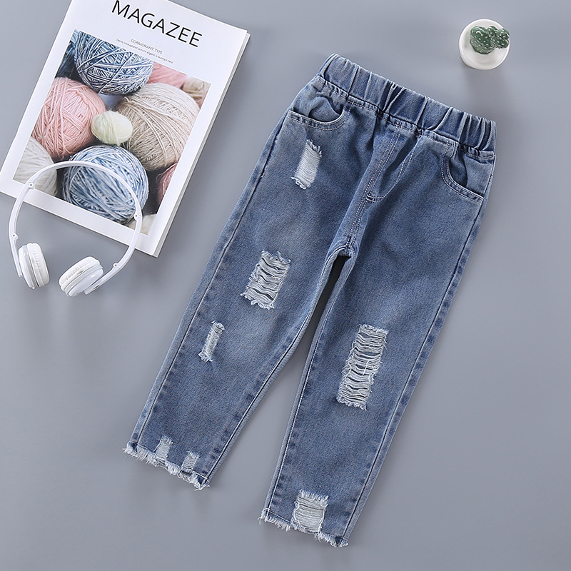 Romantisch Neue 2019 Mode Frühling Herbst Baby Jungen Mädchen Loch Denim Jeans Voller Länge Hosen Kinder Beiläufige Hosen Pantalones S8496 Jeans Mutter & Kinder