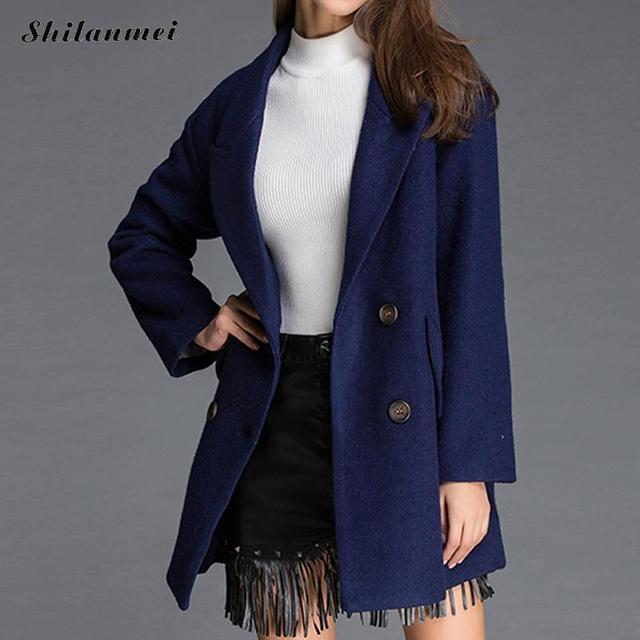 2018 Autumn Winter Fashion Women Coat Turn Down Collar Long Sleeve Outerwear Solid Warm Overcoat Casaco Feminino Female Clothing 1