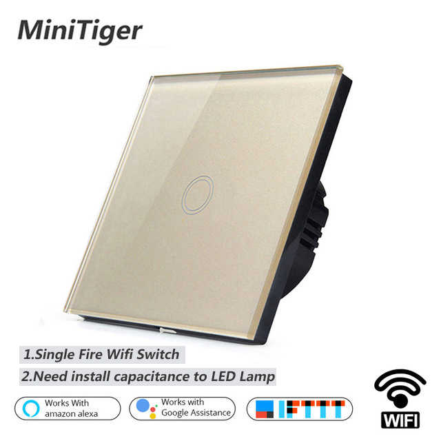 Minitiger EU/UK WIFI Smart 1 Gang Touch Switch APP Wireless Remote Light Wall Touch Switch Work With Alexa / Google Home
