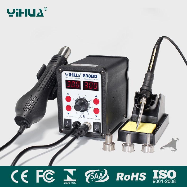 YIHUA 898BD soldering station 2 in 1 SMD Rework Soldering Station Hot Air Gun + Solder Iron soldering station gun 110V / 220V