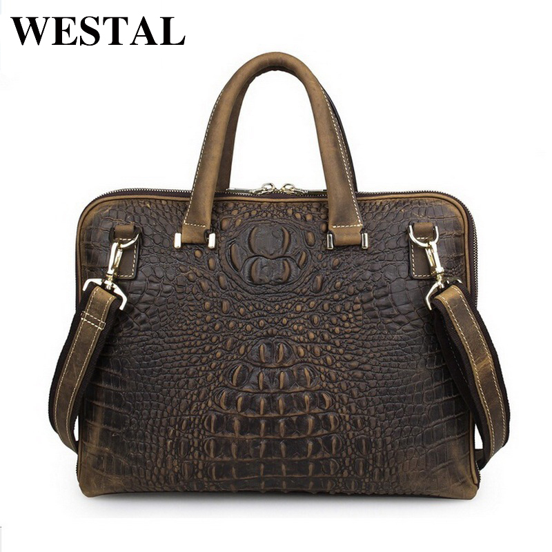 WESTAL 14 inch business briefcase laptop bag man genuine leather bags real leather handbags casual mens shoulder bag new brand цена и фото