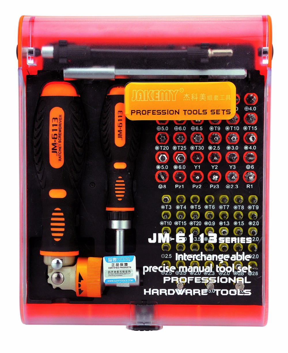JAKEMY 73 in1 Household Tool Set  Ratchet Screwdriver Hardware Tools Furniture Fittings JM-6113 For phone Laptop Electronics jakemy jm 6092b 58 in 1 screwdriver set