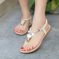 2016 New Fashion Plus Size Summer Women Sandals Classic Rhinestone 35 42 Women Shoes Flat Sandals