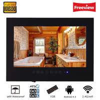 21 5inch Android Wi Fi Black Glass Panel Waterproof Bathroom LED TV Frameless Bathroom LED Full