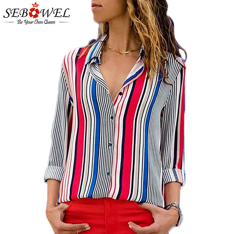 2018 Summer Striped Women Tops and Blouse Plus Size Casual Female Shirts Loose Office Ladies Workwear Blouse Shirts Tops SEBOWEL 1