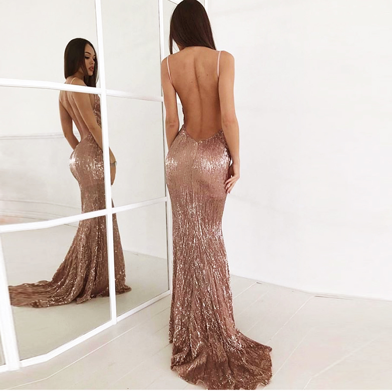 Sexy V Neck Champagne Gold Sequined Maxi Dress Floor Length Party Dress Sleeveless Strapless Backless Long Mermaid Dress