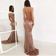 Sexy V Neck Champagne Gold Sequined Maxi Dress Floor Length Party Dress Sleeveless Strapless Backless Long Mermaid Dress - DISCOUNT ITEM  30% OFF All Category