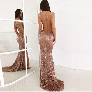Image 1 - Sexy col en V Champagne or robe Maxi pailletée étage longueur robe de soirée sans manches bretelles dos nu longue robe de sirène