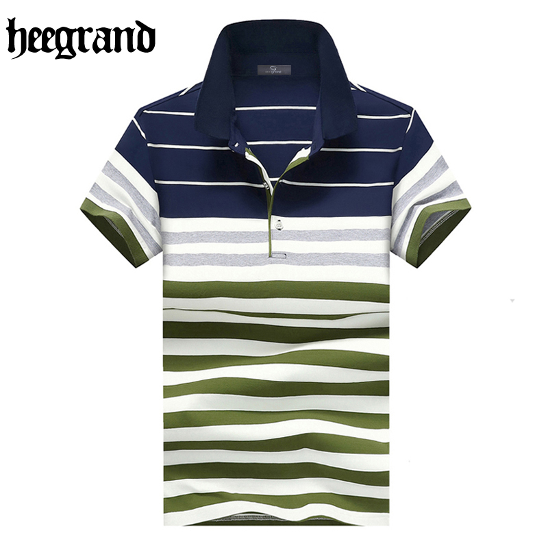 HEE GRAND 2017 Summer Male British Style   Polos   Breathable Casual Summer Plus Size Short Sleeve Men Striped   Polos   MTP456
