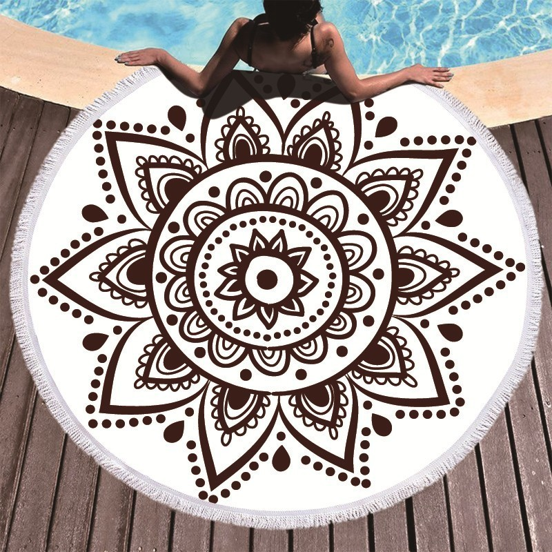 Image 2 - Boho Mandala Microfiber Round Beach Towels Summer Roundie Beach Towel Large 150cm Outdoor Sports Travel Yoga Tapestry Bath Towel-in Bath Towels from Home & Garden