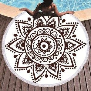Image 2 - Boho המנדלה מיקרופייבר עגול חוף מגבות קיץ Roundie חוף מגבת גדולה 150 cm חיצוני ספורט נסיעות יוגה שטיח אמבטיה מגבת