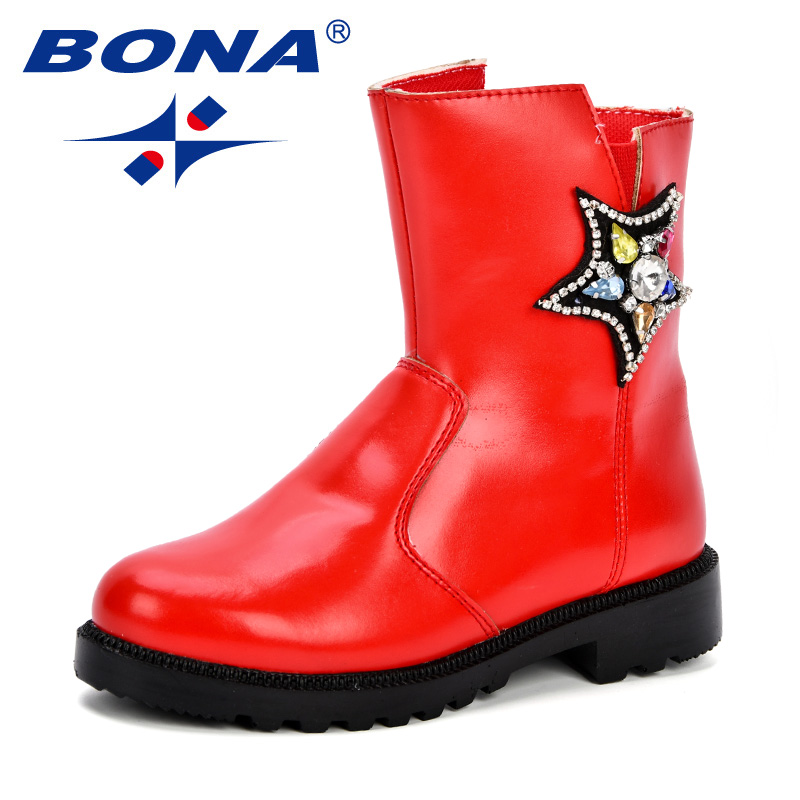 BONA Girls Autumn Boots Children Shoes Kids Mid Calf Boots Side Zipper Soft Synthetic Five Star Crystal PU Outsole Girl Footwear