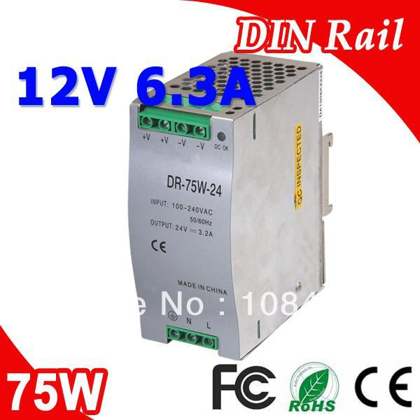 DR-75-12 LED Single Output Din Rail Power Supply Transformer DC 12V 6.3A Output SMPS dr 75 48 led single output din rail switching power supplies transformer dc 48v 1 6a output smps