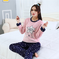 Flannel Women Pajamas Long sleeves Lovely girl Cartoon stars New Round neck nightgown Home clothing wholesale