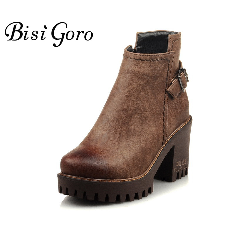 BISI GORO 2017 Women Ankle Boots Heels Thick Heel Platform Chunky Boots Leather Martin Boots Female Women Punk Rock Combat Boots womens punk ankle boots chunky heels platform side zip leather moto shoes woman high heel thick heel platform motrocycle boot