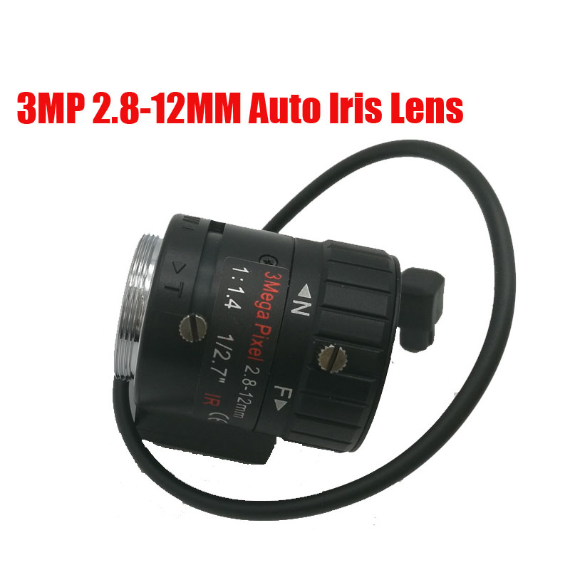 3 Megapixel HD 1/3 2.8-12mm DC Auto Iris Varifocal IR CCTV Lens CS Mount For 720P/ 960P 1.3 MP Box Camera Free Shipping 2016 new 3 megapixel hd lens fixed iris ir infrared 4mm cs mount lens for security cctv camera