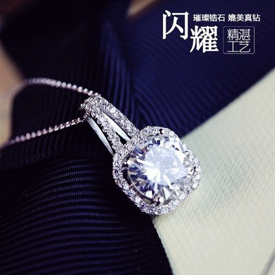 925 Sterling Silver Drill short crystal pendant female High-quality CZ Diamond Jewelry gift pendant square cube love necklace