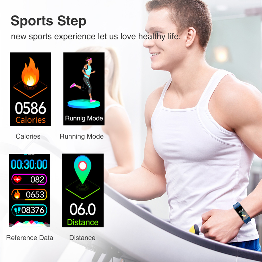 """Image 5 - Virtoba I8S 1.14"""" Smart Band Men Women Bluetooth Fitness Tracker Bracelet Blood Pressure color UI Wristband Watch For AndroidIOS-in Smart Wristbands from Consumer Electronics"""