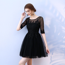 Black Colour Mini Dress Wedding Party for Women  Bridesmaid Back of Zipper