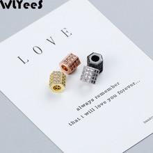 лучшая цена WLYeeS 2pcs Geometric White Zircon Copper Spacer bead 6/8mm Micro Inlay Crystal metal Loose bead For Jewelry bracelet making DIY