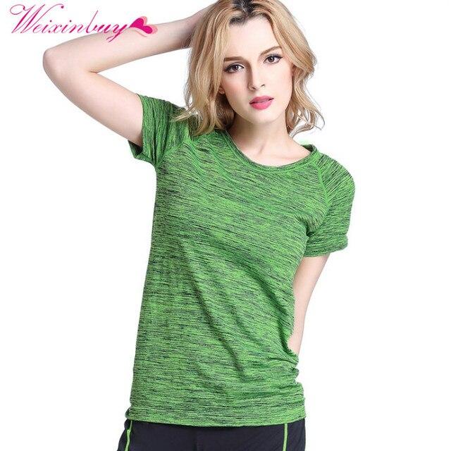 Weixinbuy Для женщин Футболки для девочек Футболка Рубашка с короткими рукавами гигроскопичен быстросохнущая Фитнес футболка для Для женщин Топы корректирующие Chic