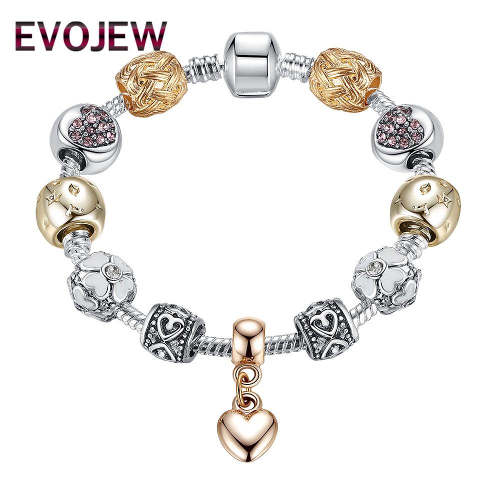 EVOJEW New Fashion Silver Plated Beads Charm Bracelet For Women Luxury Crystal Heart Pendant Bracelet Jewelry