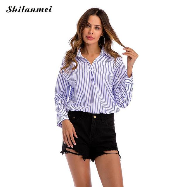 2e67739e89f 2018 autumn new fashion deep V blue lapel collar striped shirts Sexy short  front long back long Sleeve Tops Casual Loose blouse