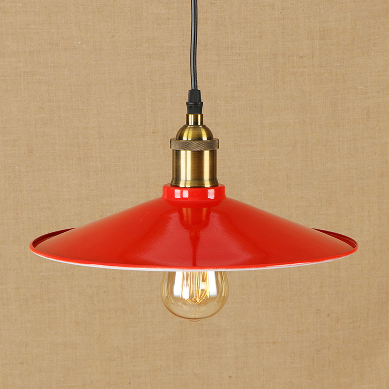 Modern Loft LED hanging light red iron pendant lamp vintage bar/restaurant living room bedroom lighting fixture 220v