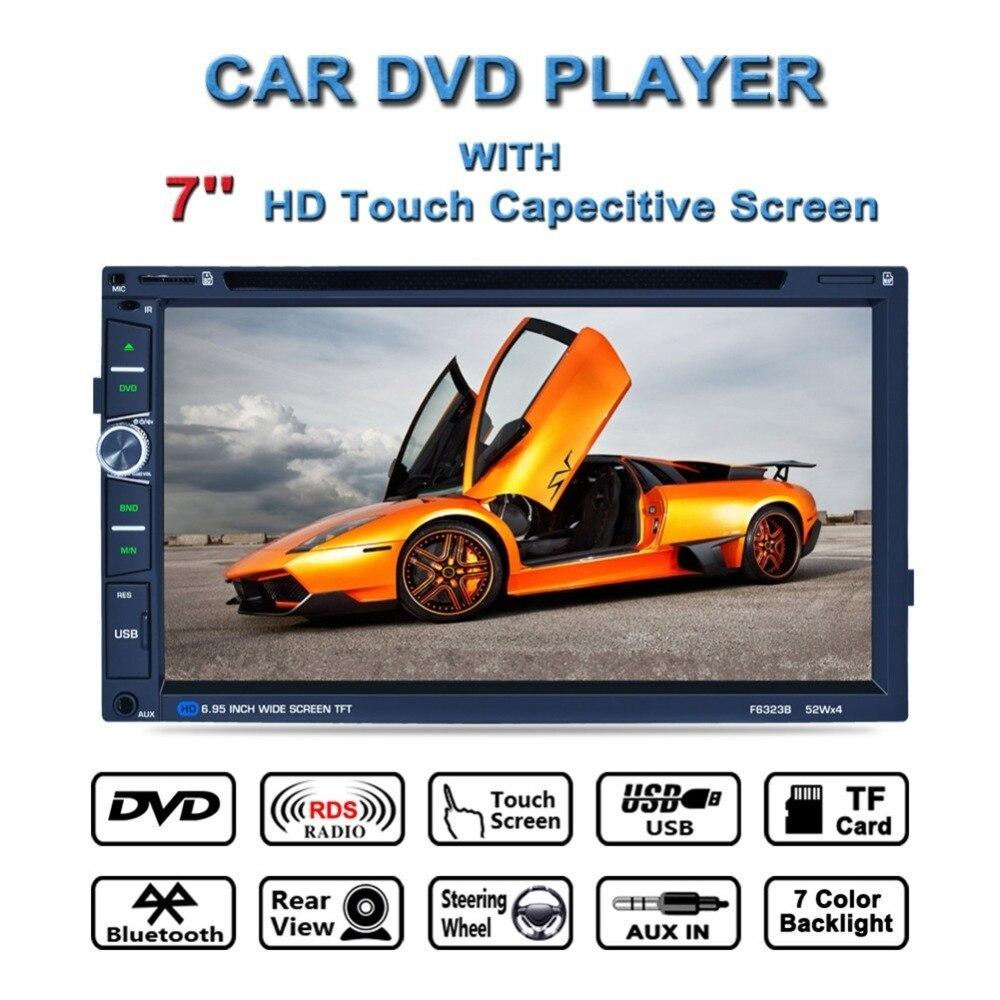 F6323B 7 pouce 2Din Voiture DVD Lecteur Bluetooth HD Tactile LCD Écran 7 Couleur Rétro-Éclairage Soutien ISO Commande Au Volant MP5 lecteur