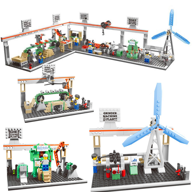 compatible Industrial Revolution ages windmill model building blocks Pop up city ideas factory sets kids toys