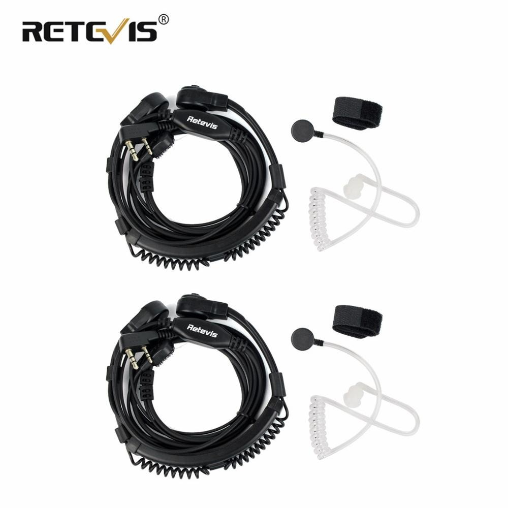 2pcs Flexible Throat Mic Headset Walkie Talkie PTT Earpiece For Kenwood Baofeng UV-5R UV-82 Retevis H777 RT-5R RT22 RT3 RT81 RT7