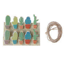 10Pcs Mini Painted Wooden Clips Message Photo Holder Card Paper Pegs With Rope W15