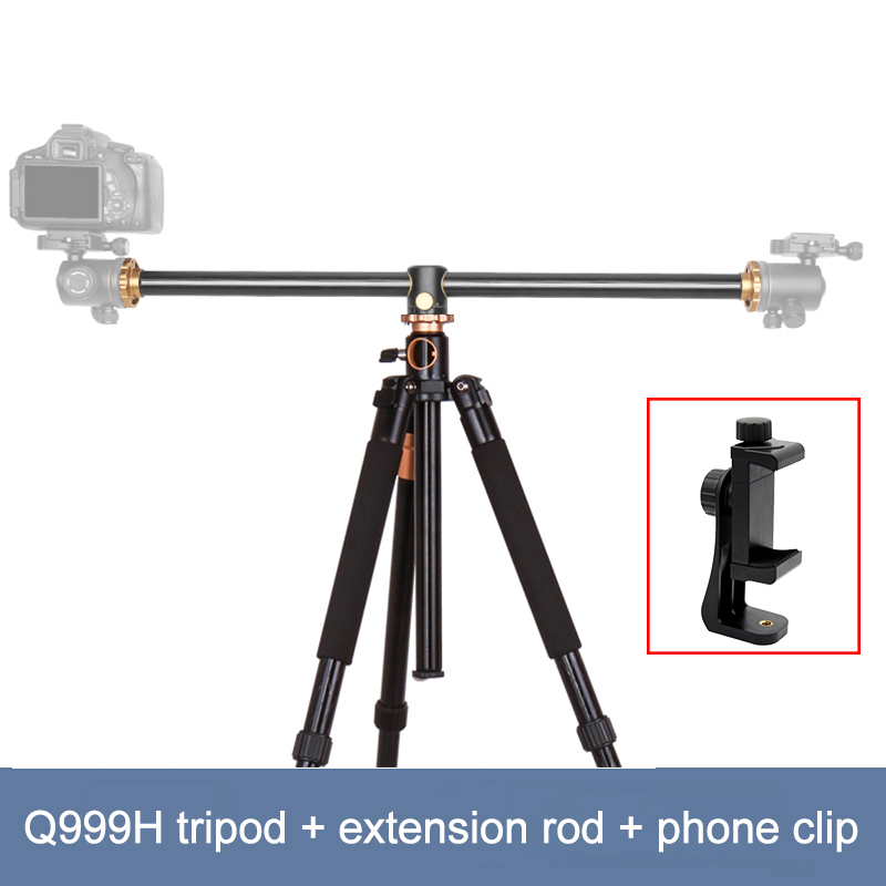 61 inch Multifunction Aluminium Q999H Horizontal Center Column Mechanism Camera Tripod for DV DSLR